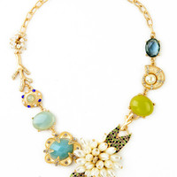 Multi Jewels Flower Statement Necklace