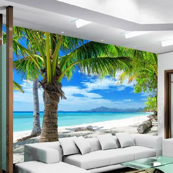 Beach Coconut Grove Mural Photo Wall Paper Living Room Bedroom Home Decor 3D Wallpapers Landscape Papel De Parede Para Quarto 3D
