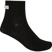 River Island Womens Black bow back ankle socks