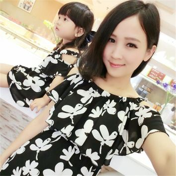 Mother Daughter Dresses Summer Matching Clothes 2018 New Chiffon Mom and Daughter Dress Flower Family Look Girl and Mother Dress