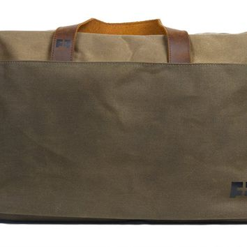 Waxed Cotton Canvas Duffel Bag with Leather Handles  Weekender Duffel