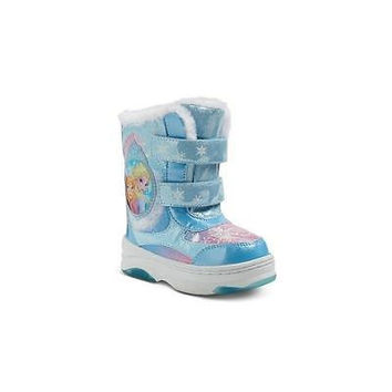 Toddler Girls Faux Fur Boots, Small 5-6, Blue Disney