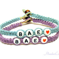 Bracelets for Best Friends or Couples, BAE, Purple and Blue Macrame Hemp Jewelry