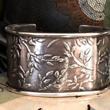 Cuff Bracelet Botanical-Themed Sterling Silver