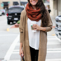 Trust Me Orange & Brown Scarf - One