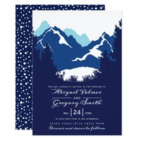 Blue mountains and conifer trees wedding card