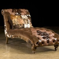 Tufted fabric and leather lounger Chaise