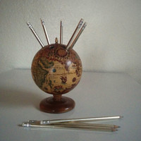 Vintage 60's Globe Pencil Holder Old World with Italian Writing