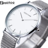 Thin fit mens wrist watch silver colored analog timepiece Stainless steel band
