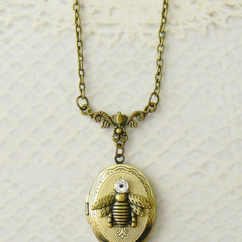 Solid Perfume Locket, Locket Necklace, Bee Necklace, French Bee