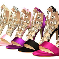 Womens Fashionable Jewel Chain High Heels