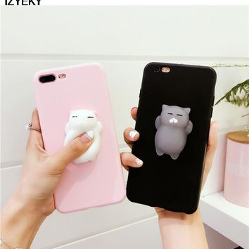 IZYEKY for iphone 8 8plus Case Lovely 3D silicon Cat Cartoon Squishy Cover Coque for Apple iphone 7 7Plus 6 6SPlus 5S SE case