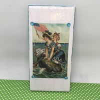 Magnets Ceramic Tile Vintage Females at the Beach Cottage Chic Decor Victorian Decor by 3 by 6 Inches