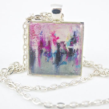 Abstract Necklace, Painting Necklace, Printed Art Pendant, Wearable Art, Contemporary Jewelry, Modern Jewelry, Sister Gift, Daughter Present