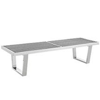 SAUNA 5' STAINLESS STEEL BENCH IN SILVER