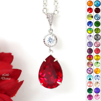 Red Necklace Swarovski Crystal Pendant Necklace Siam Necklace Ruby Necklace Garnet Necklace Bridal Party Jewelry Holiday Jewelry SI31N