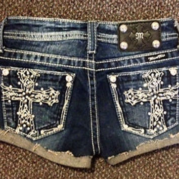 MISS ME GIRLS BLING CROSS SHORTS GIRLS MISS ME JEANS SIZE 10