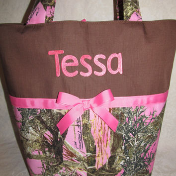 custom handmade pink true timber camouflage diaper bag or tote your choice name or initials
