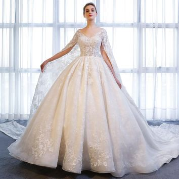 Designer Long Sleeve V Neck Bridal Ball Gown With Wrap Lace Wedding Dress