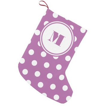 Pink And White Polka Dots Personalized Monogram Small Christmas Stocking