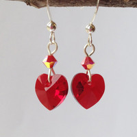 Sterling Silver Red Heart Earrings with Swarovski Crystals, Free Shipping anywhere in the USA