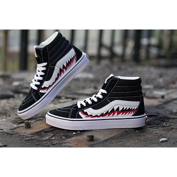 Sale BAPE x Vans Old Skool Custom SHARK MOUTHS Mid Sneakers Convas Casual Shoes SK8-HI