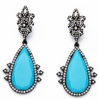 SIMMI PAVÉ DROP EARRINGS - TURQUOISE + CRYSTAL