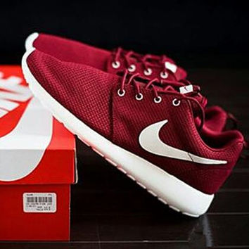 NIKE roshe Women Men Running Sport Casual Shoes Sneakers wine red