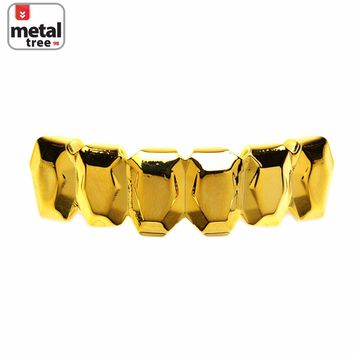 Jewelry Kay style Men's Hip Hop Fashion Square Cut 14k Gold Plated Bottom Grillz Teeth S051 G
