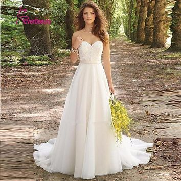 Vestido De Noiva 2017 Robe De Maria New White/Ivory Louisvuigon Chiffon Embroidery Beach A-Line Wedding Dress 2017 Wedding Gowns