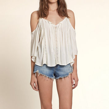 Cold Shoulder Lace Peasant Top