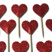 12 Glitter Heart Cupcake Toppers - bridal shower - wedding decorations