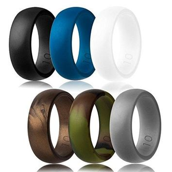 Silicone Wedding Ring,Silicone Wedding Band for Men,Camo,6 Pack, Metal Look Silver, Black, Grey, Blue
