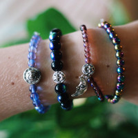 Rainbow Amethyst Sun & Moon Celestial Double Sided Glass Bracelet