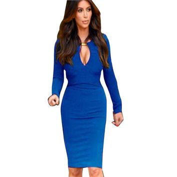 AAMIKAST New Fashion Summer 2017 European Women V-neck Full Sleeve Optical Illusion Slimming Stretch Bodycon Pencil Party Dress