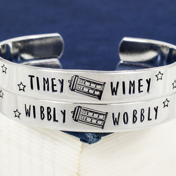 Wibbly Wobbly Timey Wimey Bracelet Set - TARDIS - Doctor Who - Best Friends Aluminum Bracelet Set