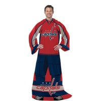 Washington Capitals NHL Adult Uniform Comfy Throw Blanket w- Sleeves