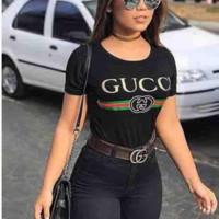 """Gucci"" Women Men Shirt Hot letters print T-shirt"