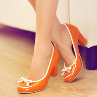 Bow and Lace Women Pumps High Heels Dress Shoes 4408