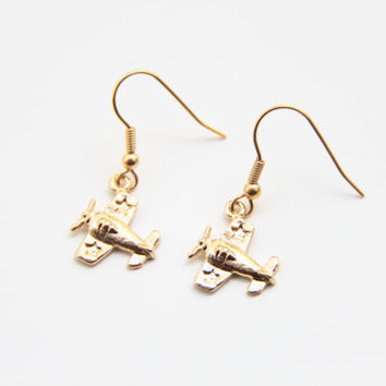 24k Gold Plated Airplane Earrings by TheUrbanLady on Etsy