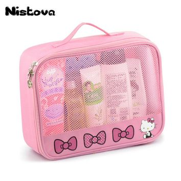 Hello Kitty Toiletry Shower Bag With Hanging Hook Cosmetic Make Up Organizer Bag With Mesh Pocket For Girls Women's Vacation