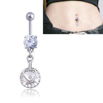 New Charming Dangle Crystal Navel Belly Ring Bling Barbell Button Ring Piercing Body Jewelry = 4661635268