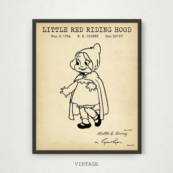 Disney Princess Print, Disney Fairy Tale Cartoon Art, Little Red Riding Hood, Digital Download Patent Blueprint Art Kids Room Wall Art Gifts