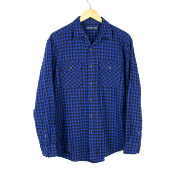 Soft Cotton Flannel Shirt // Blue and Black Small Square Checkered // Long Slim Fit  //  Mens Medium - Large 38 - 40
