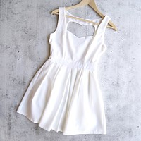 Heart Cut Out Mini Dress in White