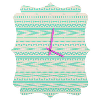 Allyson Johnson Mint Tribal Quatrefoil Clock