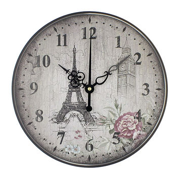 Eiffel tower large decorative wall clock absolutely silent bedroom wall clocks vintage wall watches home decor orologio parete