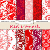 Red damask digital paper, Damask Digital Paper, digital paper damask, red digital paper, instant download, red damask digital, red damask