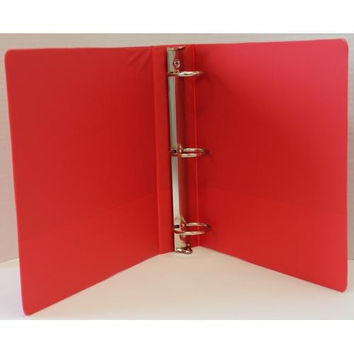 "1"" Basic 3-Ring Binder w/ Two Inside Pockets - Red"