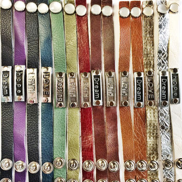 Leather Snap Nameplate Bracelet